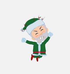 Green santa claus jumps angry vector