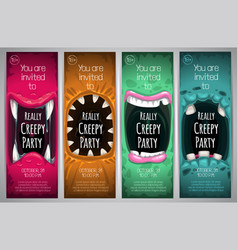 halloween vertical banners with creepy monster vector image