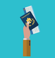 hand holding passport and plane ticket ready for vector image