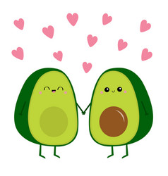 Happy valentines day avocado family mother father vector