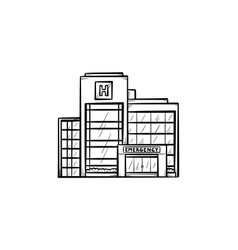 hospital building hand drawn outline doodle icon vector image