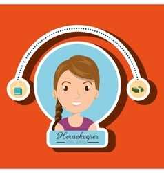 housekeeper woman service icon vector image