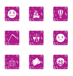 Indoctrination icons set grunge style vector