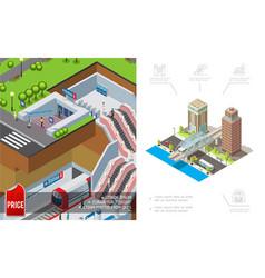 isometric city metro concept vector image