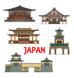 japan landmarks and temples japanese towers gates vector image