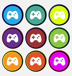 Joystick icon sign Nine multi-colored round vector