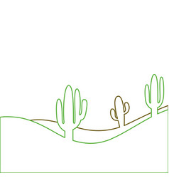 landscape desert with cactus plant sand vector image