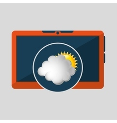Laptop technology weather forecast cloud sun icon vector
