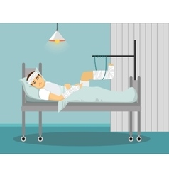 Man with broken leg and hand in Hospital vector