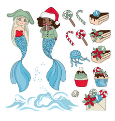 mermaid yummy new year color vector image