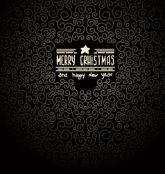merry christmas Black Greeting Card vector image