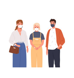 modern man woman and teen girl in protective mask vector image