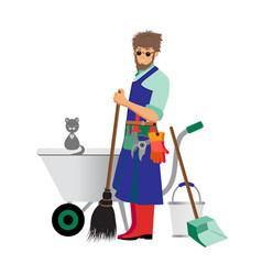 Modern young gardener vector