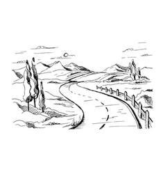 mountain road sketch vector image