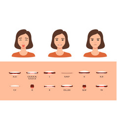 Mouth expression for letter telling animation set vector