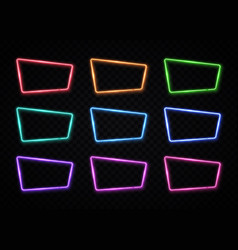 Neon frame sign collection 80s style square shape vector