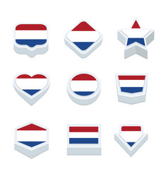 Netherlands flags icons and button set nine styles vector