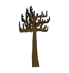 old bare tree comic cartoon vector image