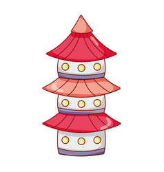 pagoda building architecture japanese cartoon vector image