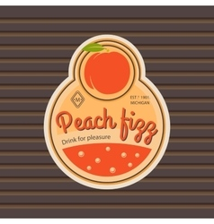 Peach fizz retro fruit label vector