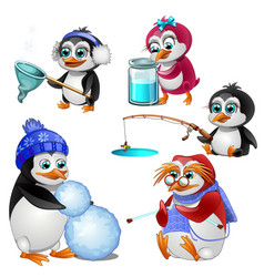 penguin family parents children and grandmother vector image