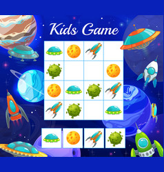 Puzzle game with space shuttles kid riddle vector
