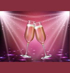 realistic of champagne glasses on pink background vector image