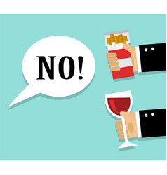 Refusal cigarettes and alcohol vector