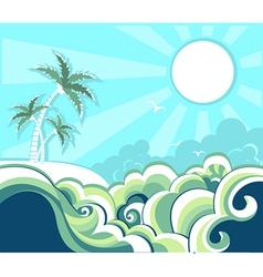 Retro nature tropical seascape vector image