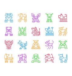 robot dog simple color line icons set vector image