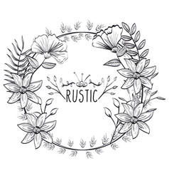 Rustic circular seal wreath vector