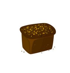 Rye dark bread icon vector