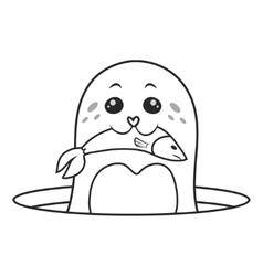Seals eat fish vector