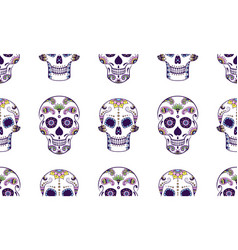 seamless pattern of colorful sugar skull vector image