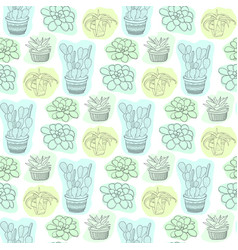 Seamless pattern with succulent flowers in pots vector
