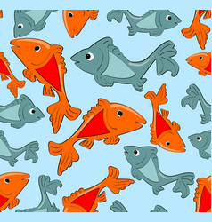 seamless patterns with fish cartoons on light blue vector image