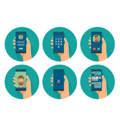 set icon male holding smartphone with concept vector image
