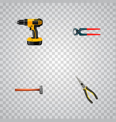 set of tools realistic symbols with drill long vector image
