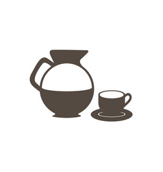 Silhouette set glass jar of coffee with dish and vector