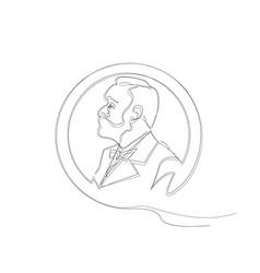 Single line sketch man with beard nobel prize vector