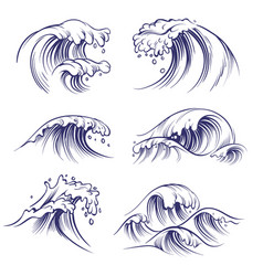 Sketch wave ocean sea waves splash hand drawn vector