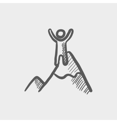 Skiing in ice mountain sketch icon vector