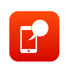 speech bubble on phone icon digital red vector image