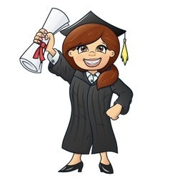 Student holding her diploma 2 vector image