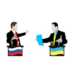 The debate between Ukrainian and Russian speakers vector image