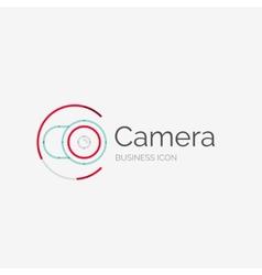 Thin line neat design logo camera concept vector