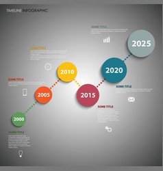 time line info graphic with colorful simple vector image