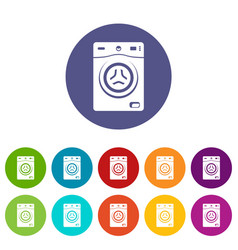 washer icons set color vector image