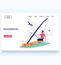 windsurfing website landing page design vector image