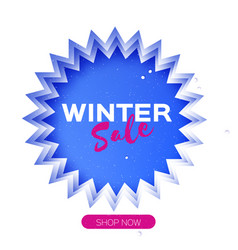 winter sale origami layered frame in paper art vector image